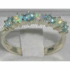High Quality Solid Sterling Silver Natural Fiery Opal & Blue Topaz Eternity Ring