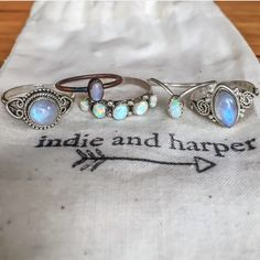 Moonstone || Navajo || Opal  All available at www.indieandharper.com