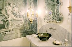 The rough edged marble vanity makes a huge statement. Very unexpected but just pulls it all together.