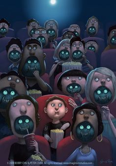 {Art} 'Half Minute Horrors' by Bobby Chiu and Peter Chan, 2009 🎨 Monster Art, Monster Movie, Arte Horror, Horror Art, Art And Illustration, Peter Chan, Arte Peculiar, Character Design Cartoon, Drawn Art
