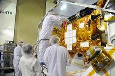 @NASA_LSP Workers inspect instrument and optics on @NASASMAP spacecraft at @30thSpaceWing during a post-shipment inspection.