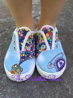 Painted Shoes - Disney Painted Shoes - Up Painted Shoes - Carl - Ellie - Grape Soda Disney Painted Shoes, Painted Canvas Shoes, Painted Sneakers, Disney Shoes, Hand Painted Shoes, Painted Clothes, Doodle Shoes, Vans Shoes, Oxford Shoes
