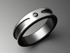 Titanium and Black Diamond Mens Ring