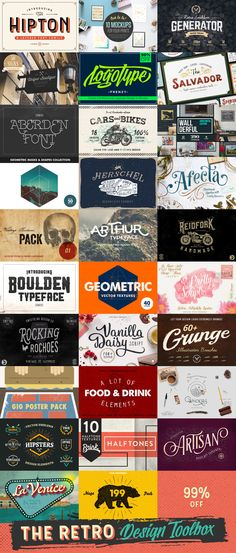 This collection contains a huge variety of retro design resources: Fonts, Textures, Mockups, Graphic elements, Vectors, Watercolors, and more. If you're looking to create any retro-style related designs, this bundle has you covered. These all items included in this bundle are worth $2335. Fortunately, you can grab all of them for only $29 (99% off) in a limited time.