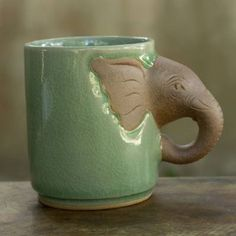 Celadon ceramic mug, 'Elephant Impression'. Shop from and help save the lives of children around the world. Celadon ceramic mug, 'Elephant Impression'. Shop from and help save the lives of children around the world. Elephant Mugs, Ceramic Elephant, Ceramic Animals, Thai Elephant, Thrown Pottery, Pottery Mugs, Ceramic Pottery, Slab Pottery, Pottery Wheel