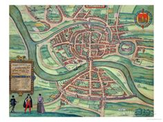 "Map of Bristol, from ""Civitates Orbis Terrarum"" by Georg Braun and Frans Hogenberg circa 1572-1617 Giclee Print by Joris Hoefnagel - AllPosters.co.uk"