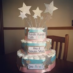 A personal favorite from my Etsy shop https://www.etsy.com/listing/230874004/gender-reveal-diaper-cake