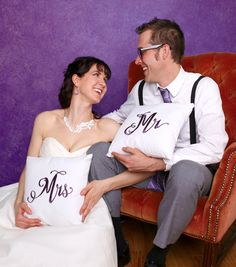 Urban Threads: Mr & Mrs combined or as separate elements to make special mementos for your wedding day