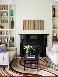 Living room with stripes. Design by Kristine Irving, styled by StacyStyle, shot by Laura Moss.