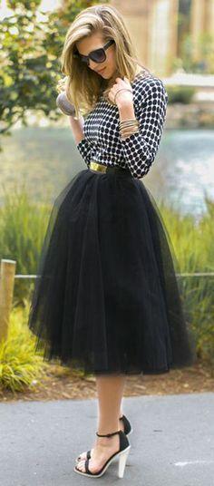 Amore Tulle Skirt in Black