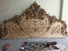 Wood carving bed -- I've always wanted to carve a headboard!
