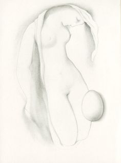 """Ludmila Jiřincová: """"Woman with an Egg"""", gravure, 13.5 x 8.5 cm. Signed: L. Jiřincová."""
