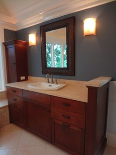 Devine Color - Devine Storm, bathroom, traditional interior, blue wall paint, wood sink