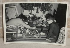 Vintage Snapshot Photo Christmas Morning Kids Playing Game of LIFE by Tree