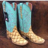 720ea7b55 Custom Pirarucu Black Jack Boots. Made in the USA!! #Mule Barn  #BigBassBoots #TurquoiseTops #DreamBoots