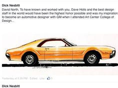 Thanks Dick,that was a fun time in the car Studios,great guys to work with. Drawing by Dick Nesbitt,designer,writer,and Real car-guy