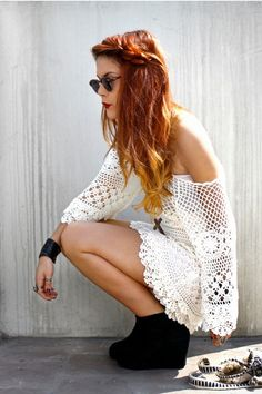 Crochet Dress = okay so many things about this outfit rule. First her hair color and simple boho chic style rock with this dress and the black foot wear and leather cuff offset the light airiness of this particular dress....FANTASTIC.