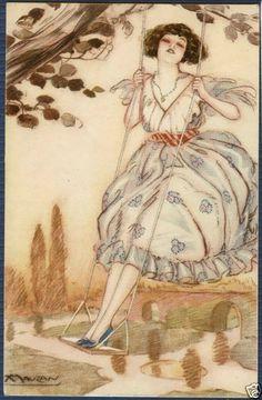 Beautiful Lady in A Swing Signed Mauzan | eBay