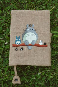 Note Book A6 size with Hand Painted Totoro pattern on handloom fabric Cover on Etsy, $24.24