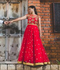 Red floorlength anarkali