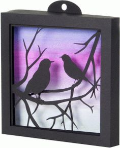 Silhouette Design Store - View Design #77265: 3d robins on branches shadow box