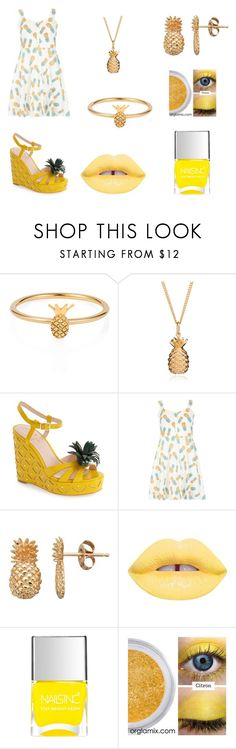 """""""Pineapple city"""" by amazingperson101 ❤ liked on Polyvore featuring Lee Renee, Rachel Jackson, Kate Spade, Dorothy Perkins, Lime Crime and Nails Inc."""