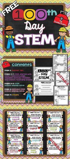FREE 100th Day STEM Stations for PreK through 3rd Grade!