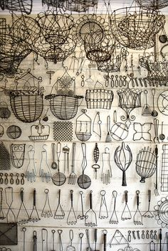 Peter Chelly Gray * Shades of Gray, collections of kitchen wire items, white wall with black wire objects. Vitrine Design, Art Fil, Displaying Collections, Collections Of Objects, Wire Baskets, Wire Crafts, Shades Of Grey, Vintage World Maps, Old Things