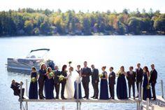 NH destination fall wedding,hair that moves, bridal party, New Found lake, wedding hair style