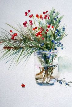 Blumen Lauras Aquarelle Acne at this Age? Watercolor Christmas Cards, Watercolor Cards, Watercolor Flowers, Simple Watercolor, Watercolor Animals, Watercolor Background, Watercolor Painting Techniques, Watercolour Painting, Painting & Drawing