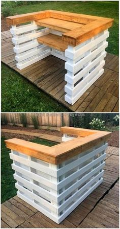 Creative And Awesome DIY Pallet Projects and IdeasYou can find Pallet bar and more on our website.Creative And Awesome DIY Pallet Projects and Ideas Wood Pallet Bar, Diy Pallet Bed, Wooden Pallet Projects, Wooden Pallets, 1001 Pallets, Pallet Sofa, Pallet Headboards, Pallet Benches, Pallet Tables