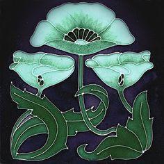 Art Nouveau Reproduction Decorative Ceramic Tile 6 X 6 inches #00127