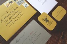 Oh So Beautiful Paper: Kendra + Robb's Rustic Woodgrain Wedding Invitations Cute Envelopes, Addressing Envelopes, Colored Envelopes, Invitation Suite, Custom Invitations, Wedding Rehearsal Invitations, Woodsy Wedding, Wedding Announcements, Wedding Paper