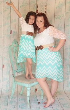 Sweet,Sadie,Just,like,Mommy,Dress,in,Ivory,and,Mint,,3/4,length,Sleeves,mommy and me, just like mommy, chevron, lace, mint hi-lo, be inspired boutique