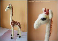 Needle felted Giraffe   ** note minimalist facial features    by *thai-binturong on deviantART
