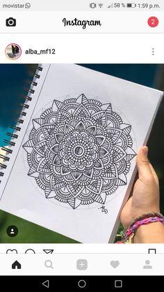 Cuaderno Mandala Art Lesson, Mandala Artwork, Mandala Drawing, Design Art Drawing, Cool Art Drawings, Colorful Drawings, Zentangle Patterns, Doodle Patterns, Zentangles