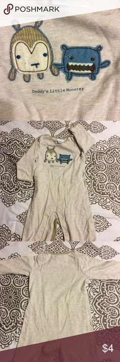 Daddy's Little Monster PJ Onesie Beige PJs• Old Navy• 3-6 Months• some pilling • Good condition Old Navy One Pieces Bodysuits