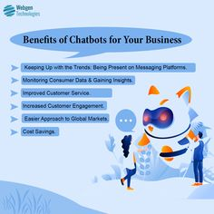 Chatbots are the new buzz creator in the market. Contact Webgen Technologies today to be ahead of your competition with our most innovative and customized chatbot solutions specifically designed for your business. Customer Engagement, Cost Saving, Machine Learning, Customer Service, Insight, Competition, Budgeting, Innovation, Messages