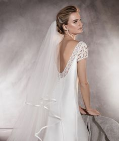 Pronovias > ATALAYA - Short-sleeved wedding dress in mikado with gemstones