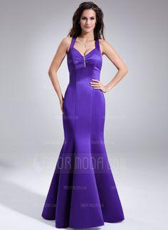 Corte trompeta/sirena Escote en V Vestido Satén Dama de honor con Volantes Bordado (007001883)