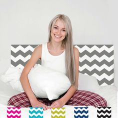 Gray Chevron Full Headboard Wall Decal Removable by WallDressedUp, $79.00