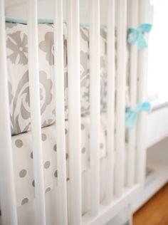 Gray Baby Bedding, Crib Bedding Gray, Gray Nursery Bedding, Baby Bedding Aqua, Aqua Baby Bedding - with yellow