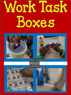 Work Task Boxes- September Ideas on how to start work task boxes at the beginning of school. These activities slowly establish instructional control while building independence skills. Autism Education, Special Education Classroom, Autism Classroom, Classroom Teacher, Music Education, Autism Activities, Autism Resources, Motor Activities, Sorting Activities