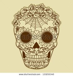 Vector Vintage  Ornate Sugar Skull. Catrina. by FCks, via Shutterstock