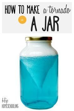 how to make a tornado in a jar with this fun science experiment for kids, perfect for homeschooling science! An engaging educational project that will be done with no mess or fuss in 5 minutes! Check it out!