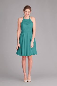 A stunning short, chiffon bridesmaid dress with an illusion neckline. | Kennedy Blue Sienna featured in Teal