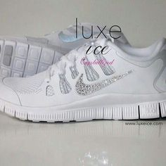 NIKE run free shoes w Swarovski Crystals detail - White Metallic  Silver Pure Platinum Pink 9d3e46b9cd