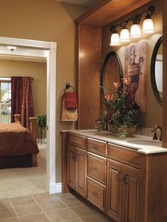 Create warm elegance with Diamond's #maple cabinets in a coffee finish on Selena #cabinet doors. #DiamondRoomMakeover