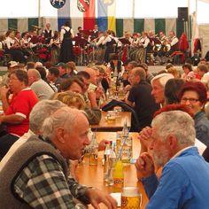 Hot times in the beer tent Almabtrieb Festival Lechaschau Austrian Tirol 2009