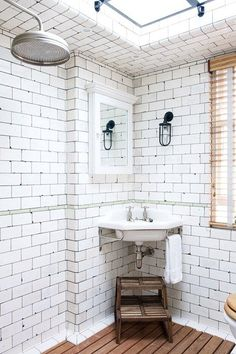 Discover stylish new ideas for the bathroom, including these vintage white industrial tiles in restaurant owner Keith McNally's Notting Hill family home